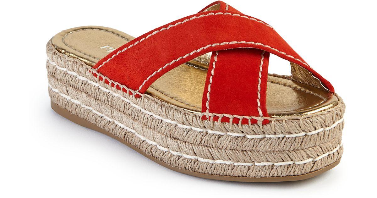 prada galleria tote - Prada Suede Double Platform Espadrille Slide Sandals in Red | Lyst
