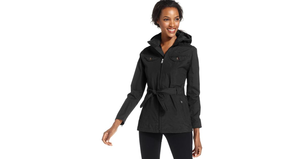 6cc356131 The North Face Black Hooded Belted Raincoat