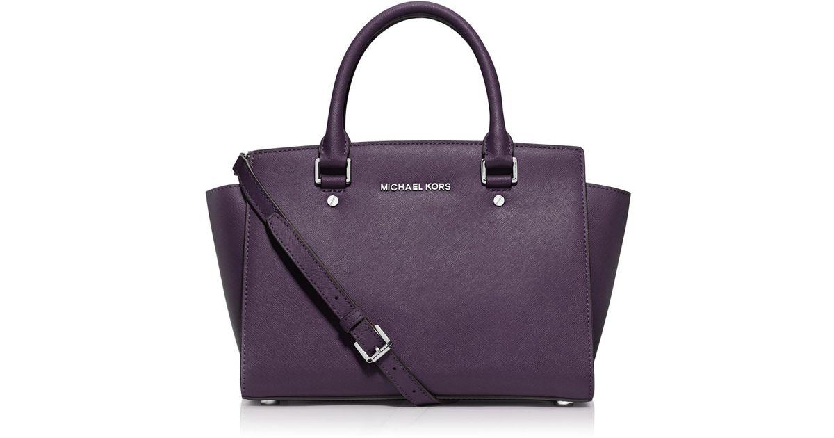 ab5dfdcee2e8 ... reduced lyst michael michael kors selma medium saffiano leather satchel  in purple 8c693 f9ff5