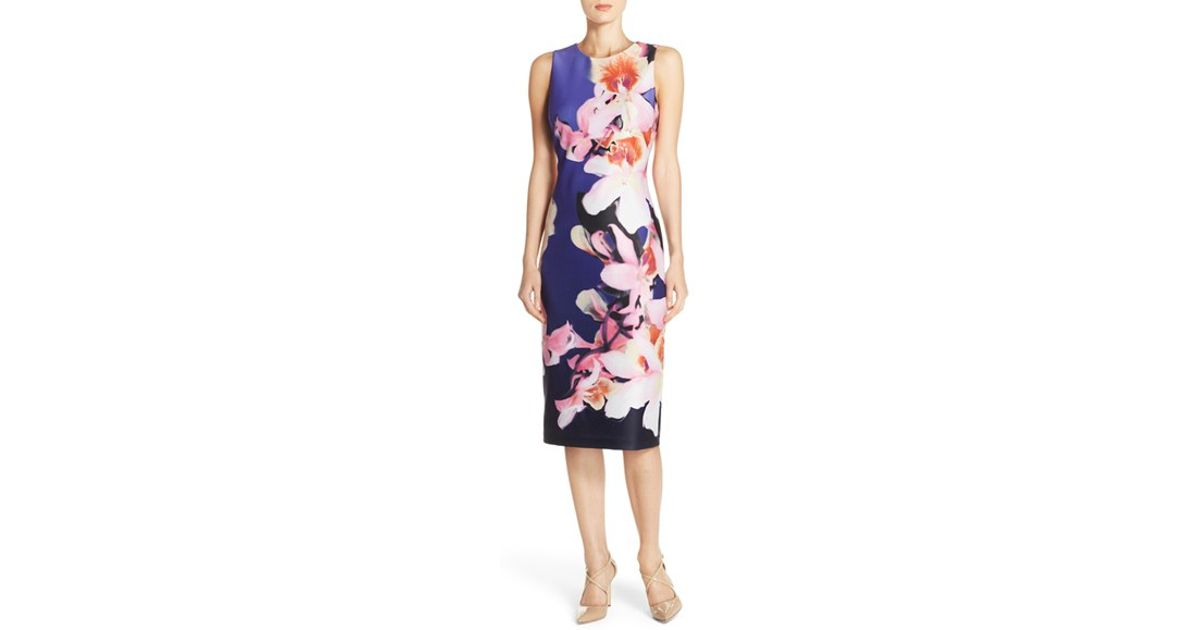 f888e9f7 Vince Camuto Floral Print Scuba Midi Sheath Dress in Pink - Lyst