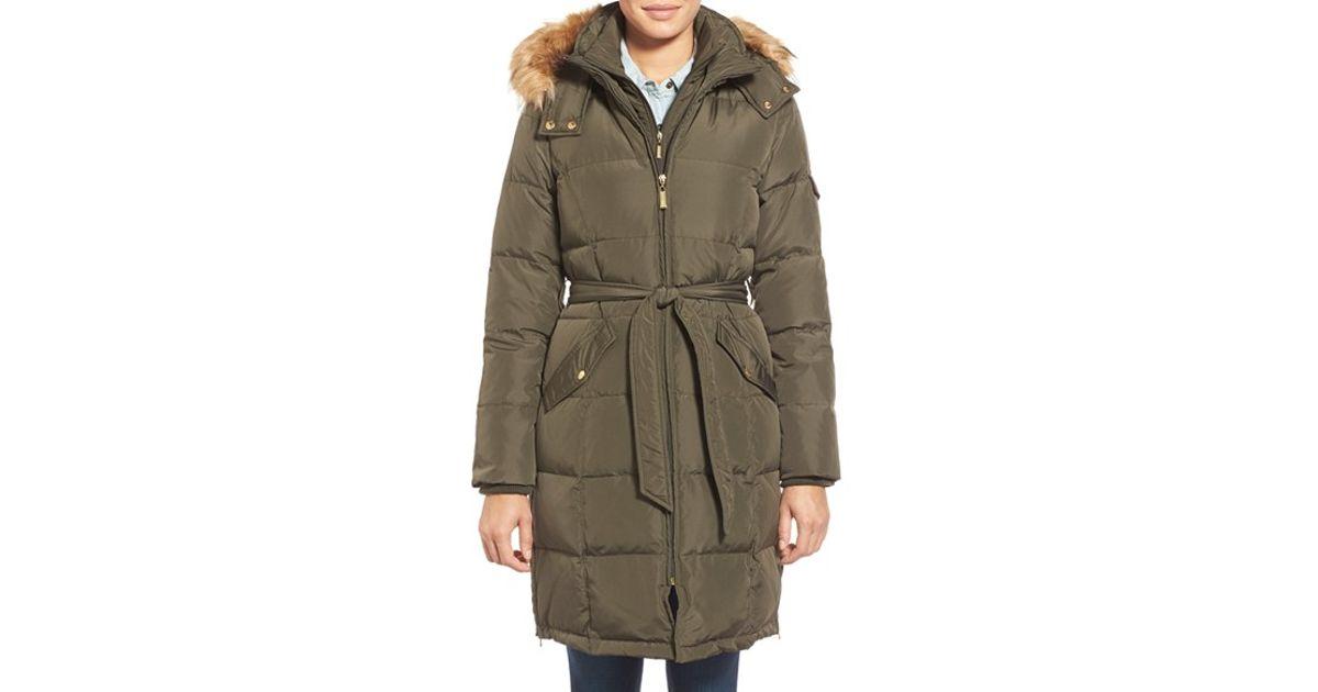 3c1177eeb46 Ellen Tracy Green Belted Down Coat With Detachable Faux Fur Trim Hood