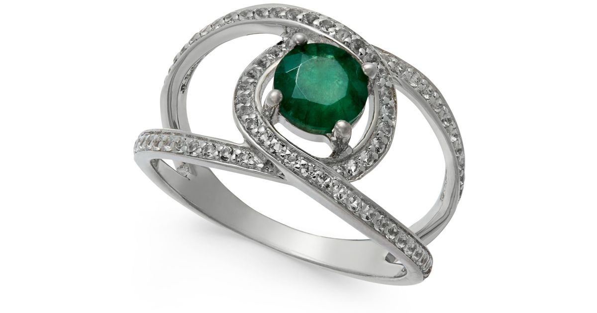 macy s emerald 1 ct t w and white sapphire 3 4 ct t