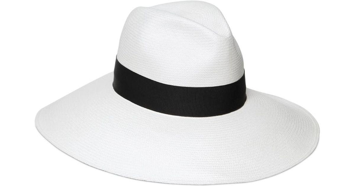 ebf2387a31407 Lyst - Borsalino Extra Fine Panama Straw Hat in White