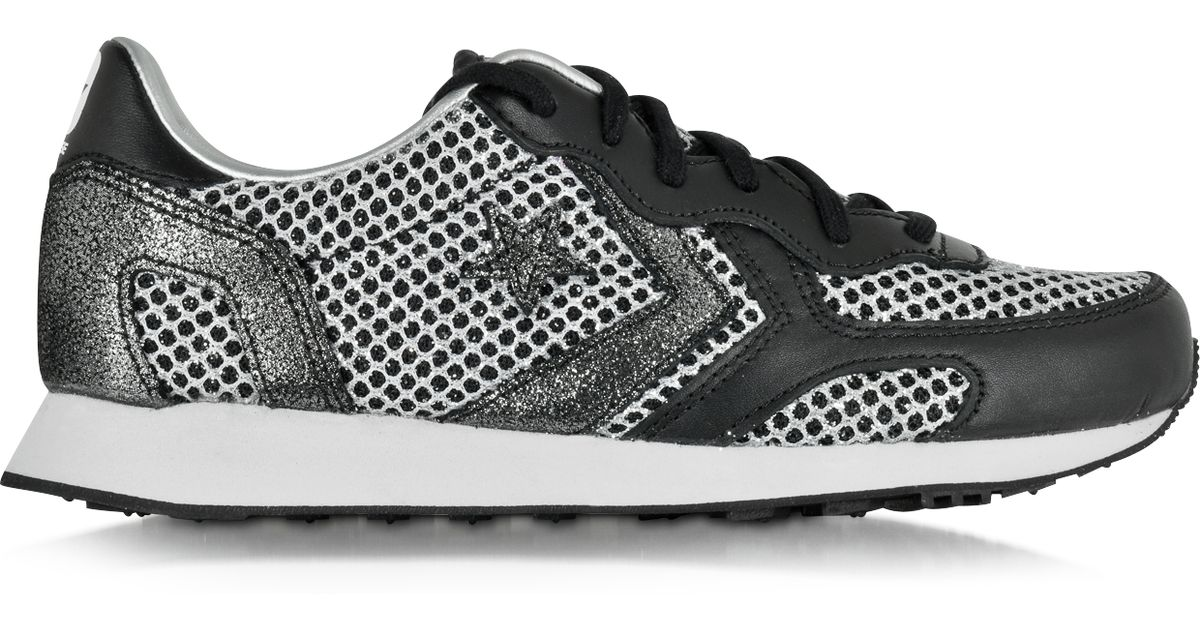 106a8ae386cbdc Lyst - Converse Auckland Racer Ox Glitter And Metallic Mesh Sneakers in Gray