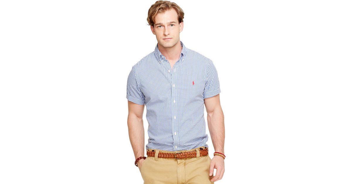 1ec3c481 Polo Ralph Lauren Gingham Seersucker Shirt in Blue for Men - Lyst