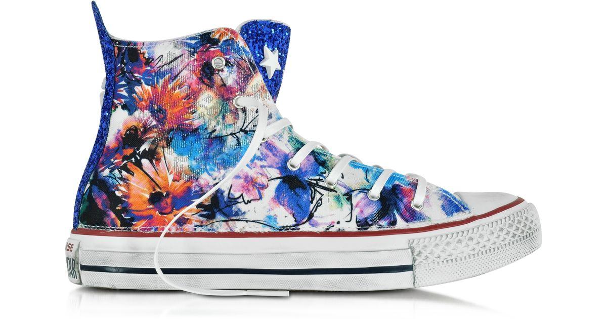 924c6ec82b10 Lyst - Converse All Star Hi Floral Printed Canvas txt Ltd Sneaker W glitter