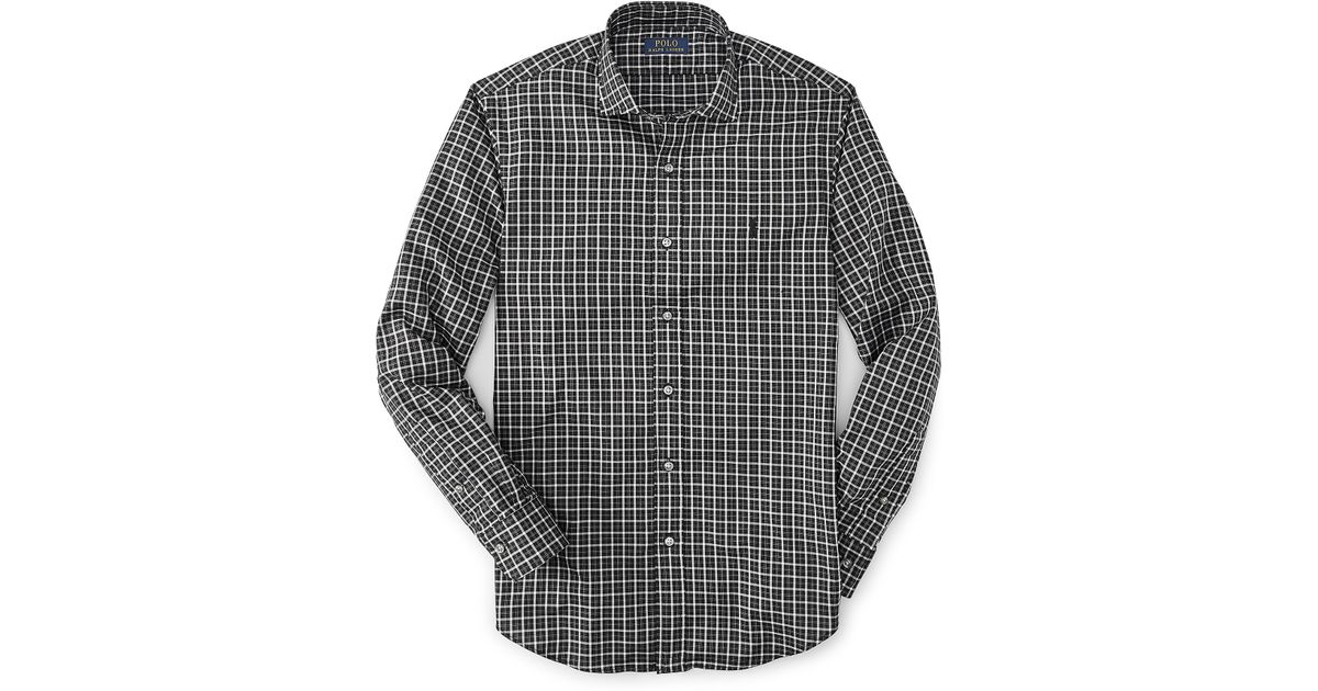 9e5e6fd02 ... uk cheap lyst polo ralph lauren estate slim fit checked shirt in black  for men 07a6c