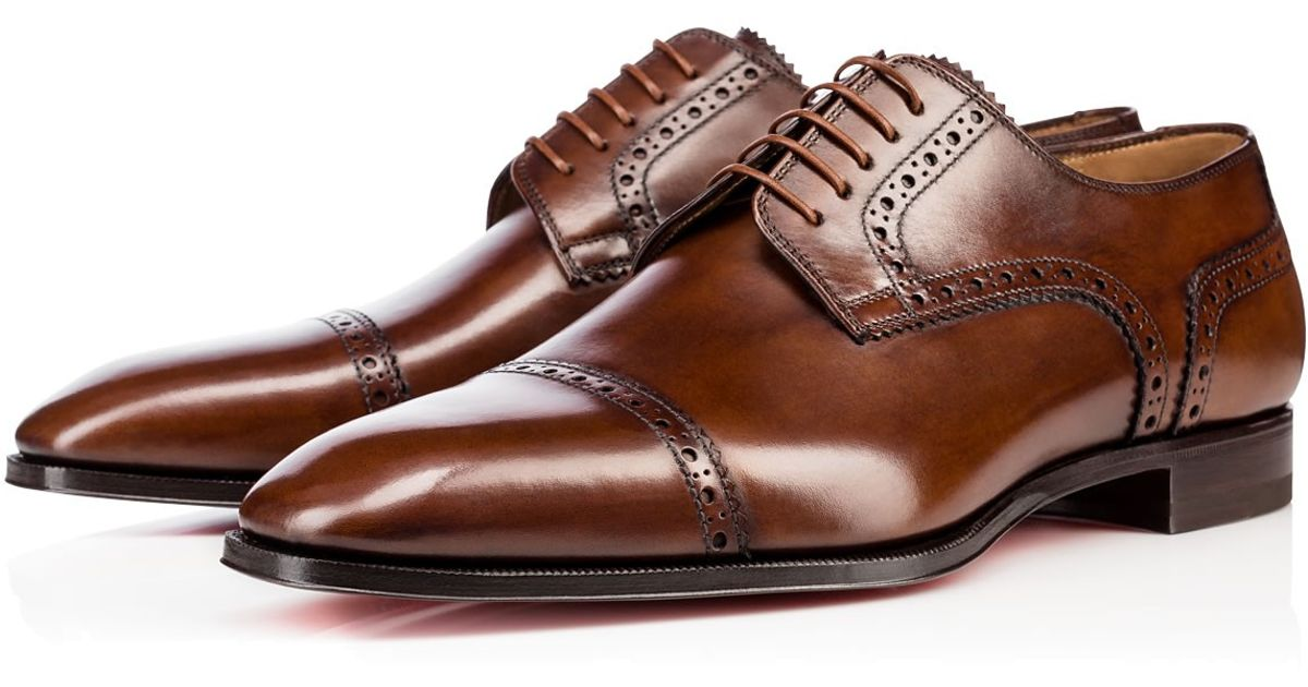 70c2eb9ffb5 Christian Louboutin - Brown Cousin Charles Flat Leather Shoes for Men - Lyst