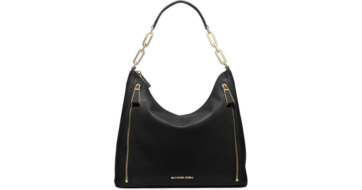 63d07e0b5f56 Lyst - Michael Kors Matilda Large Calfskin Shoulder Bag in Black