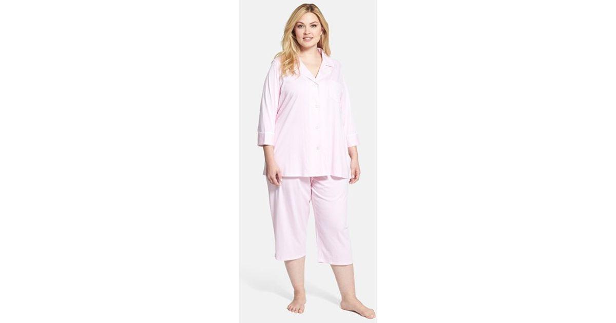 ec943058 Lauren by Ralph Lauren Knit Crop Pajamas in Pink - Lyst
