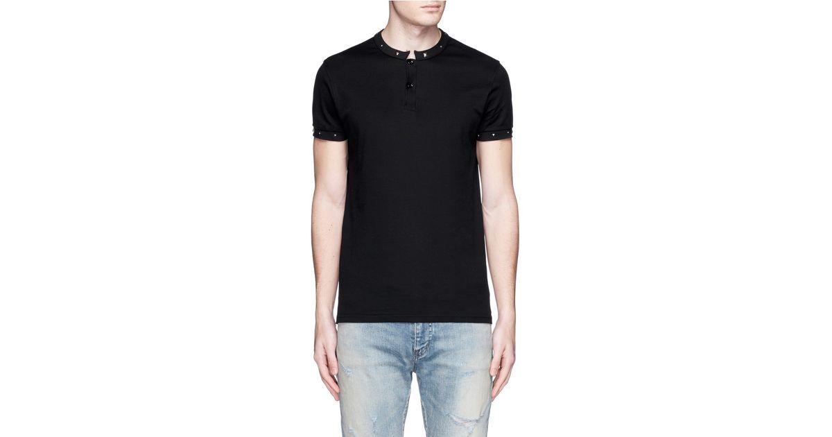 5c27f837c2 Saint Laurent Black Stud Stand Collar Polo Shirt for men