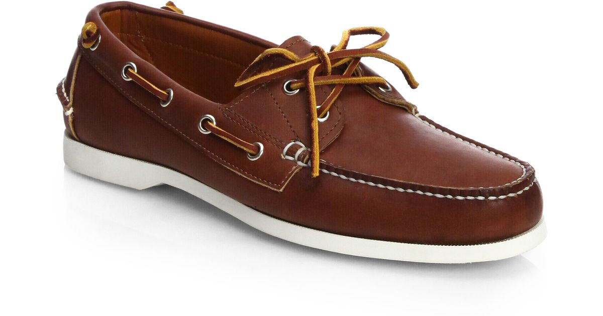 4688bc71e8 Ralph Lauren Brown Telford Leather Boat Shoes for men