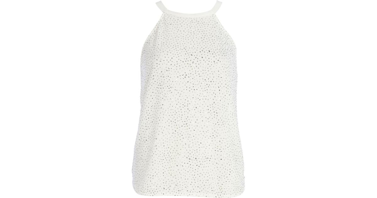 White Sparkly Top River Island