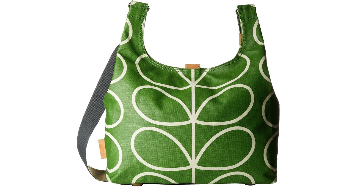 Lyst Orla Kiely Matt Laminated Giant Linear Stem Print Midi Sling Bag In Green