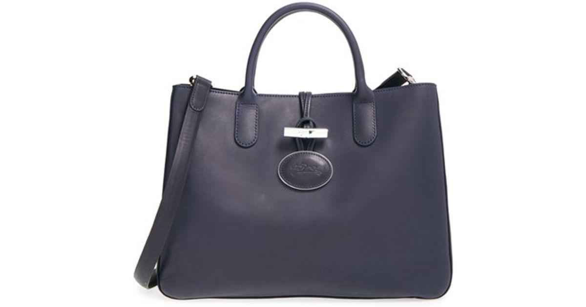 Longchamp Blue Roseau Heritage Medium Leather Tote