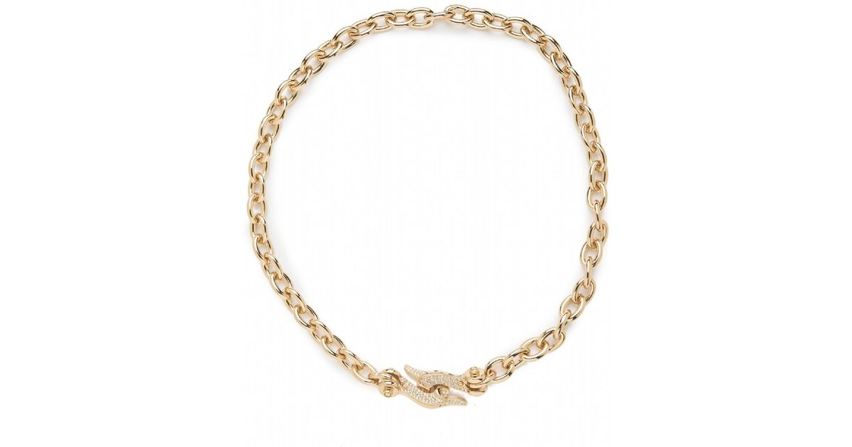 Cc skye fish hook collar necklace in gold lyst for Gold fish hook necklace