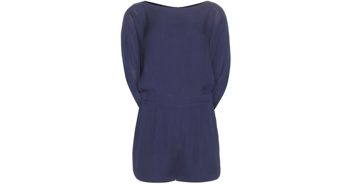 c140de4db5f Lyst - Diane von Furstenberg Soleil Silk Playsuit in Blue