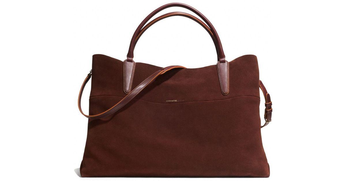 856f3d451ede Lyst - COACH Xl Soft Borough Bag In Suede in Brown