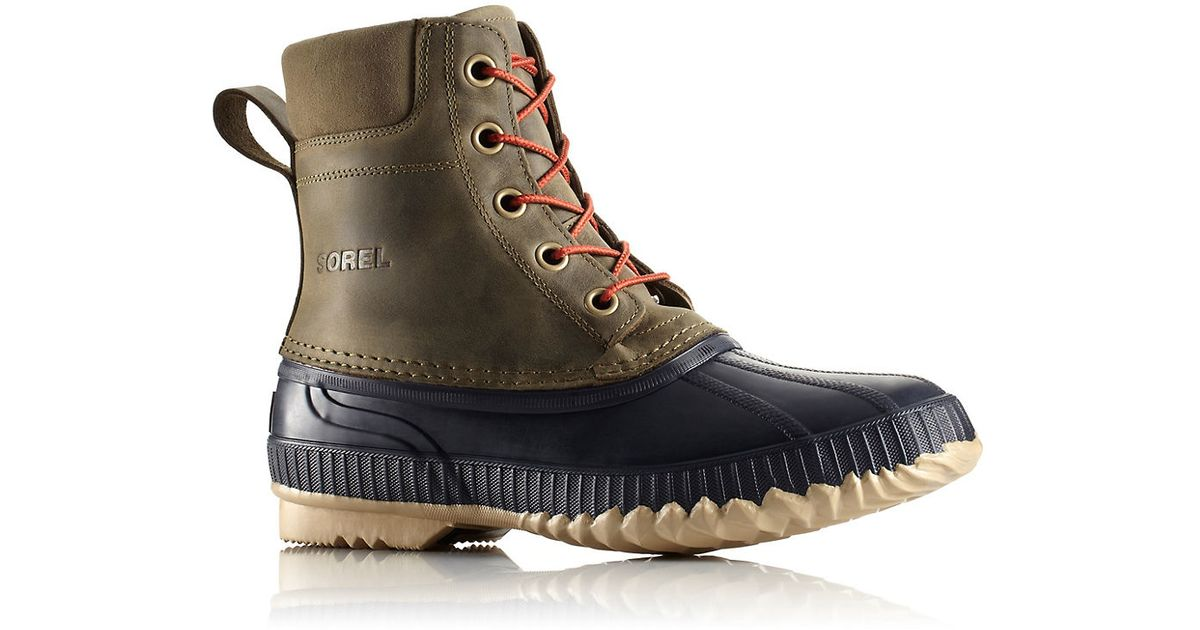 sorel cheyanne grain leather duck boots in green for