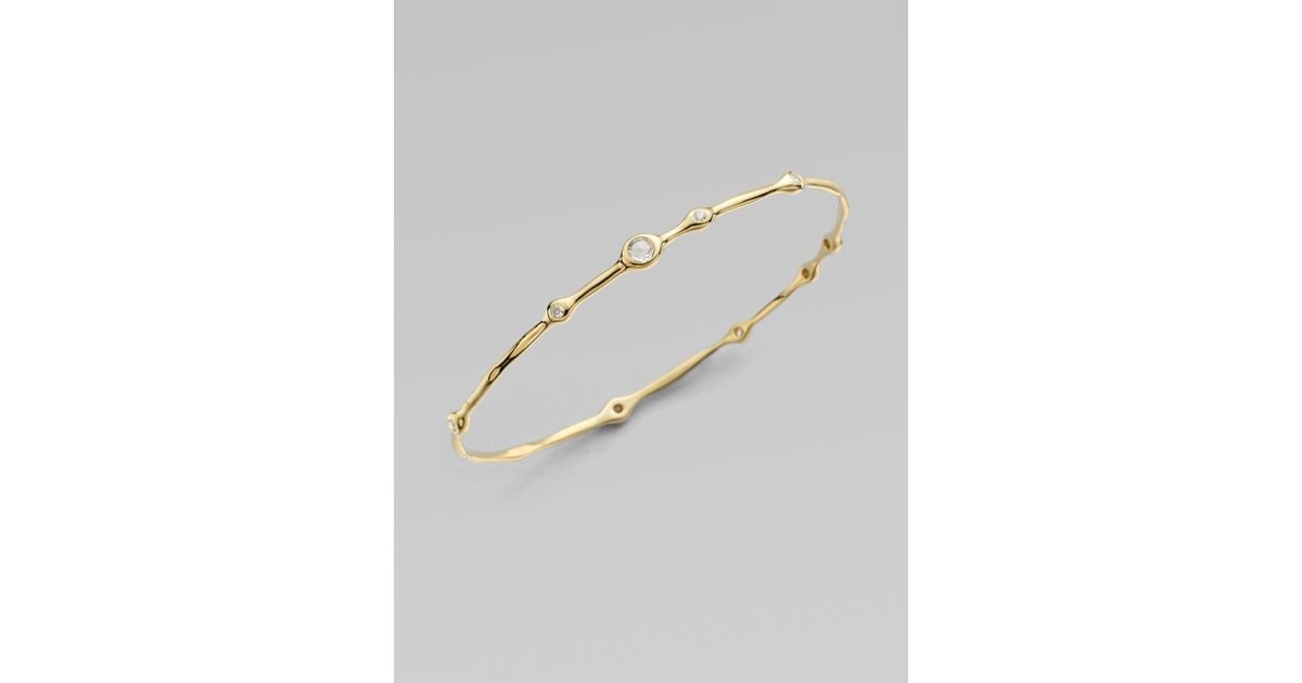 Ippolita Multi Diamond 18k Yellow Gold Bangle Bracelet In Metallic Lyst