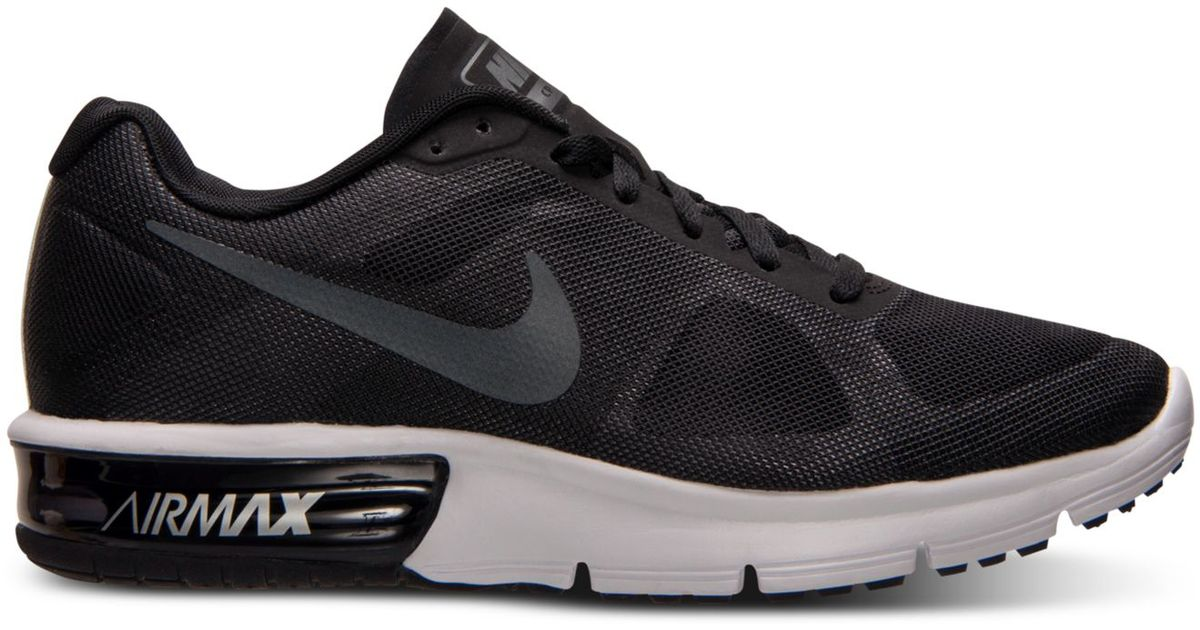 nike women 39 s air max sequent running sneakers from finish line in black lyst. Black Bedroom Furniture Sets. Home Design Ideas
