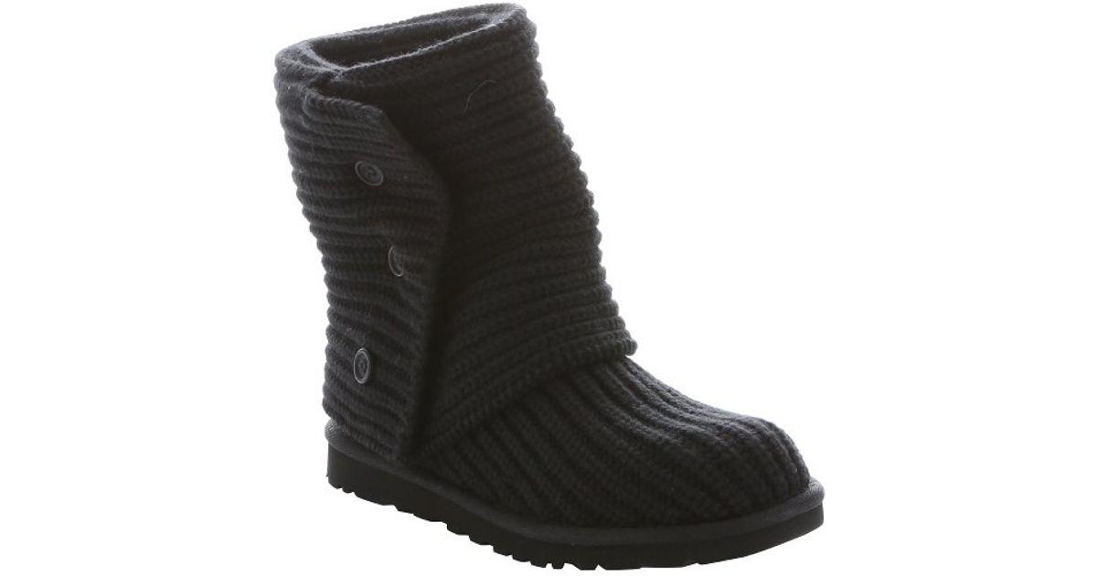Ugg Black Rib Knit Wool Classic Cardy Boots In Black Lyst