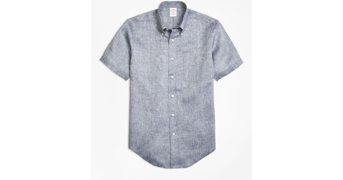 Brooks brothers madison fit irish linen short sleeve sport for Irish linen dress shirts