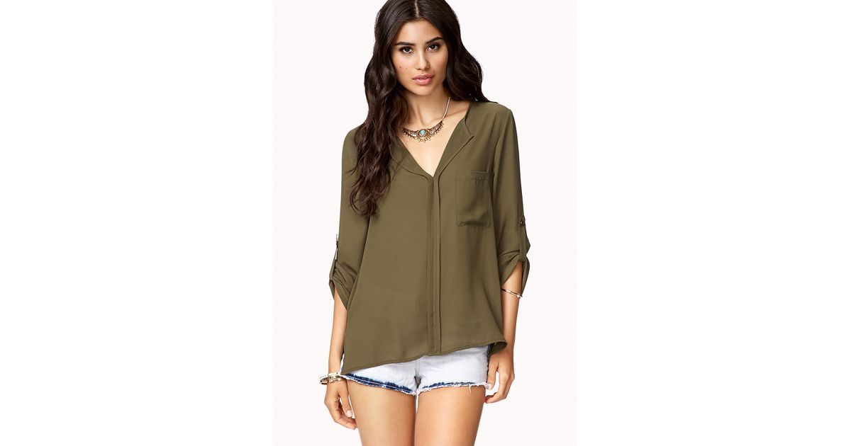 c0709e1caa87 Lyst - Forever 21 High-Low Button Tab Blouse in Green