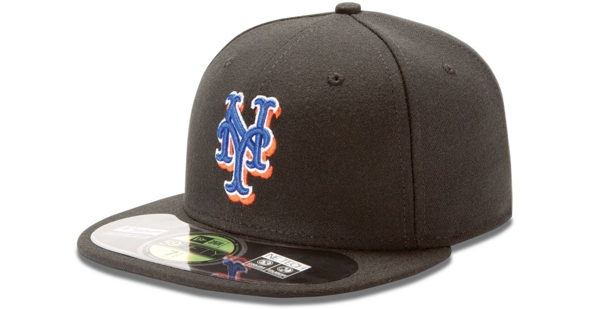 New Era 59fifty New York Mets Fitted Hat Cap All Black