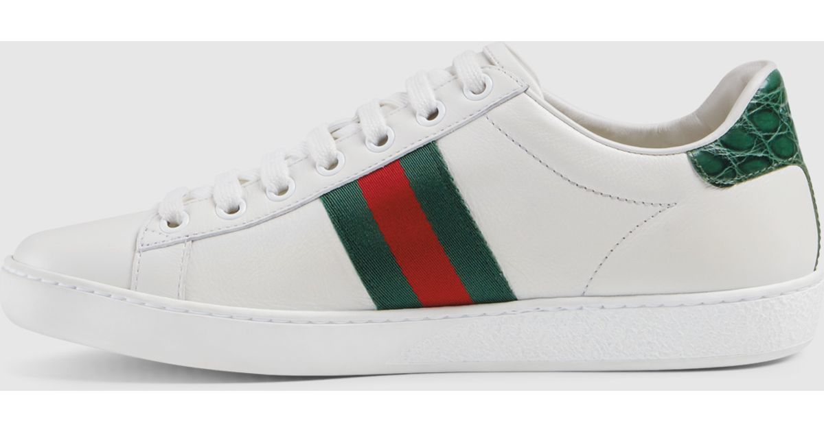 43bc85baef Gucci Green Leather Sneaker With Web Detail