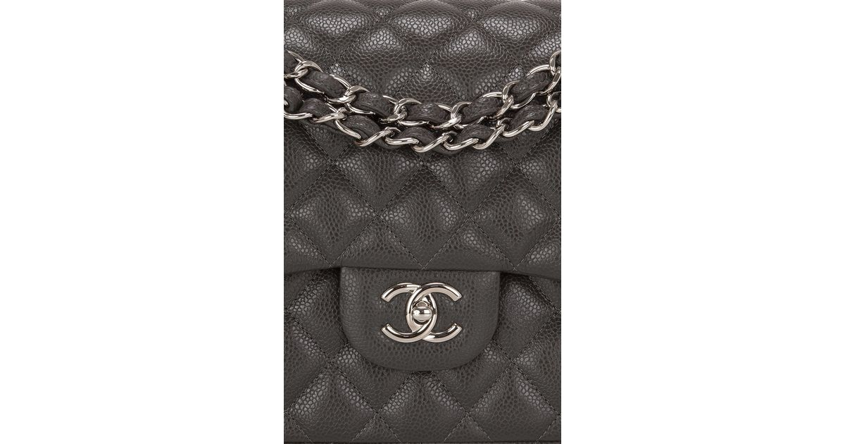 17869892636969 Madison Avenue Couture Chanel Dark Grey Quilted Caviar Classic Jumbo Double Flap  Bag in Gray - Lyst