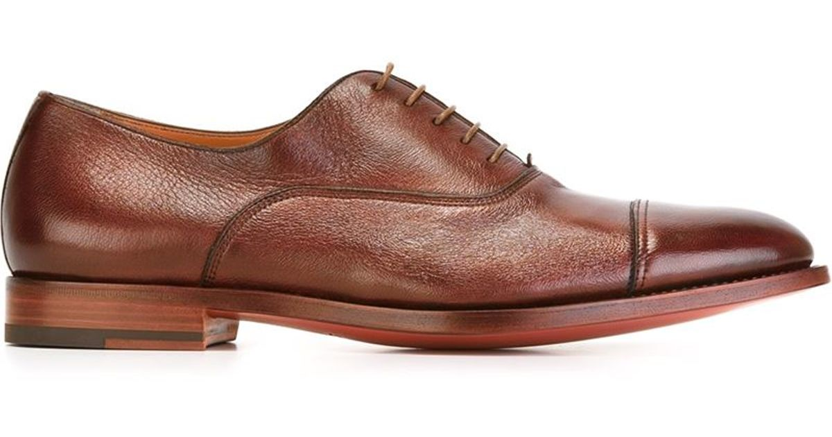 Santoni Stacked Heel Oxford Shoes In Red For Men | Lyst