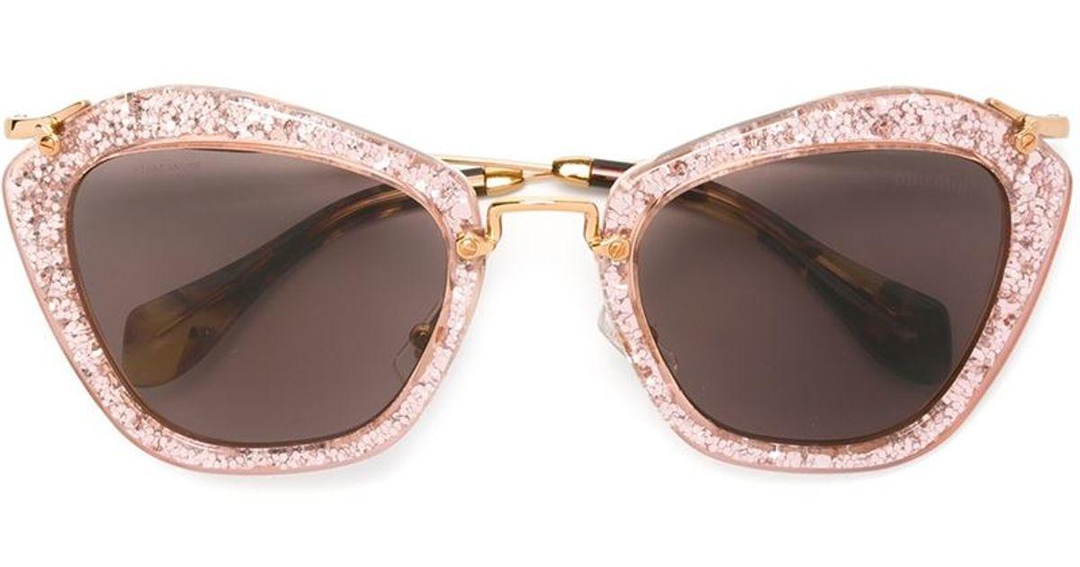 18c57beedbea Miu Miu 'noir' Glitter Sunglasses in Pink - Lyst