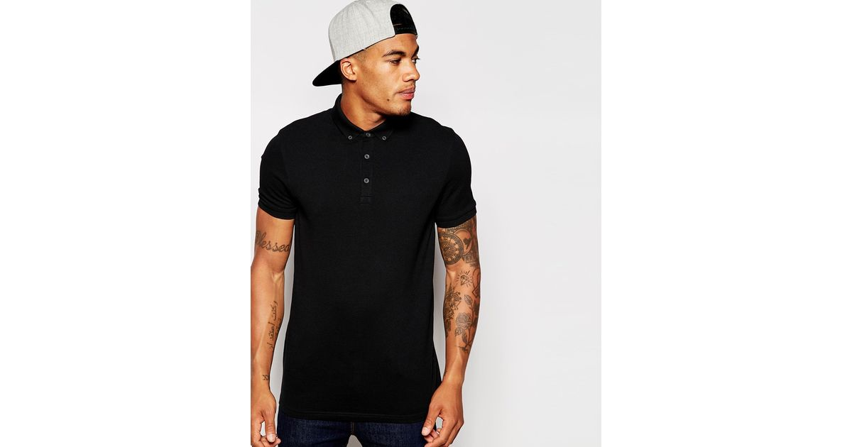 Asos polo shirt with button down collar in black in black for Three button collar shirts