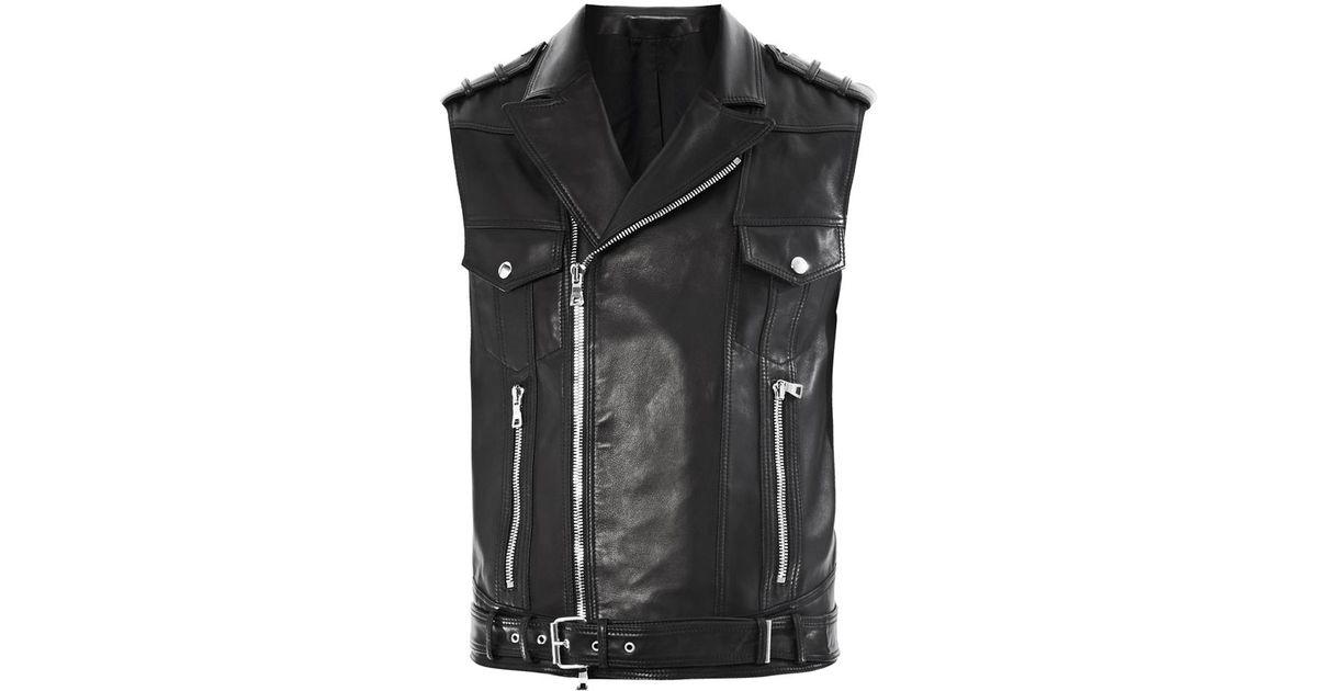 Balmain Sleeveless Leather Biker Jacket In Black For Men