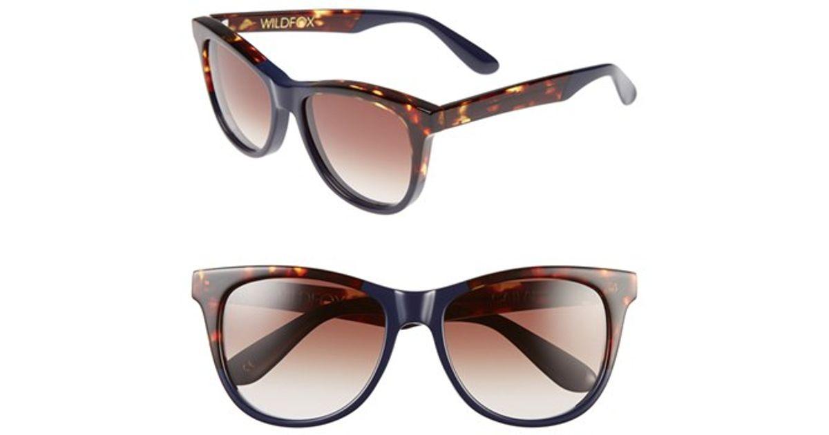 a34823848dd98 Lyst - Wildfox  catfarer  55mm Sunglasses - Factory Navy in Blue