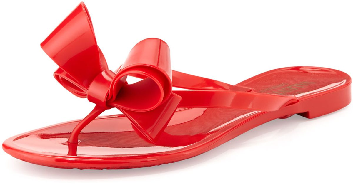 4e67ebe9039 Lyst - Valentino Couture Bow Jelly Flat Thong Sandal in Red