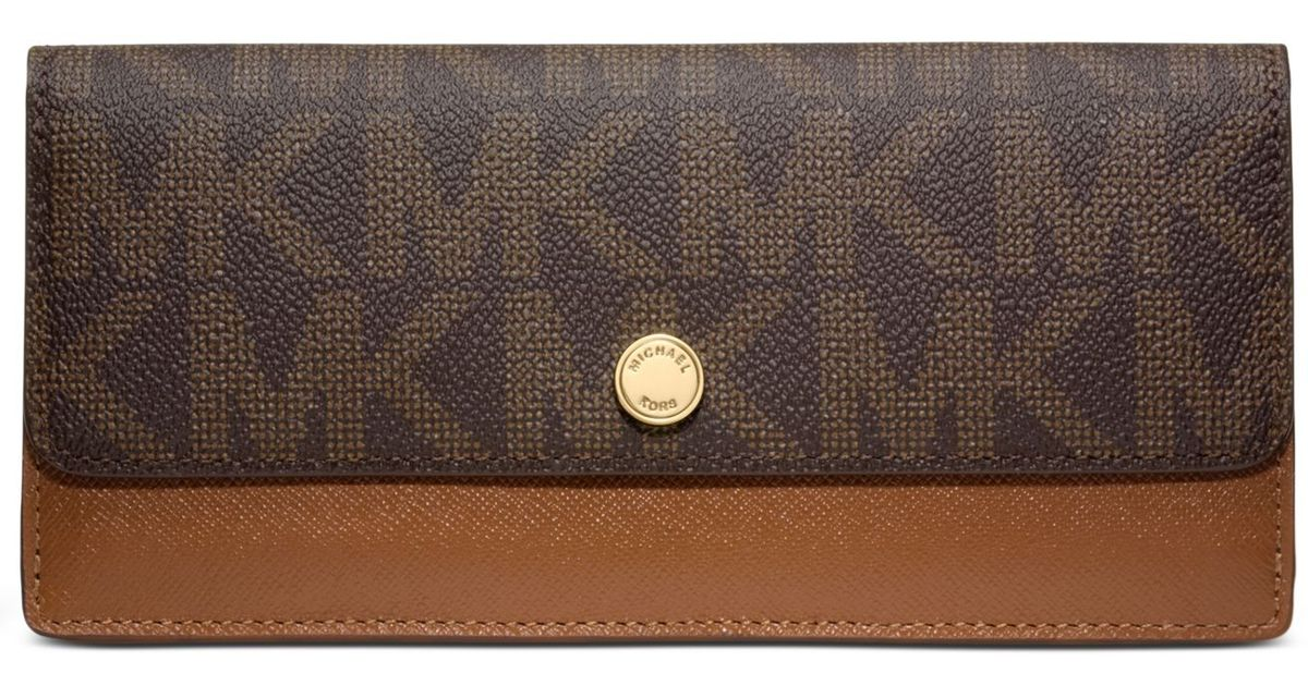 3fee47c09cad Michael Kors Michael Mk Signature Flap Wallet in Brown - Lyst