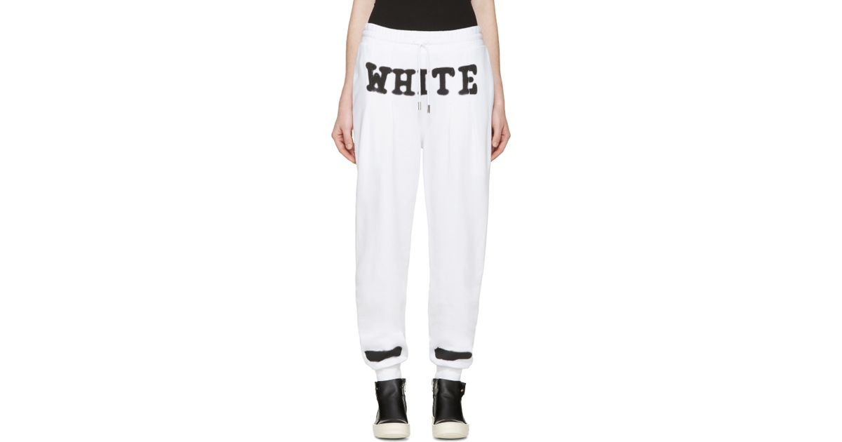 off white c o virgil abloh white spray paint lounge pants in white. Black Bedroom Furniture Sets. Home Design Ideas
