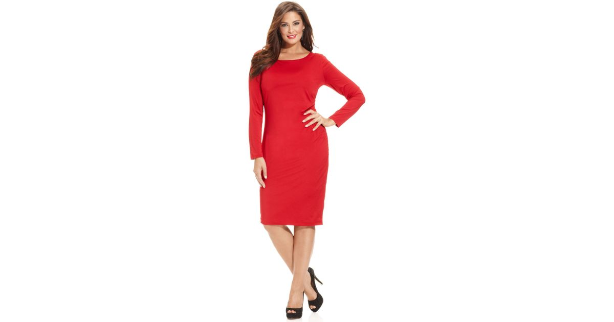 INC International Concepts Plus Size Longsleeve Bodycon Dress in Red ...