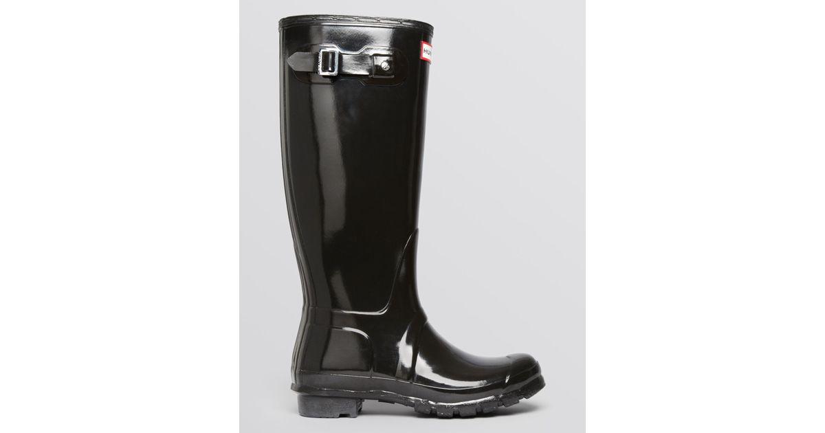 Hunter Rain Boots - Original Tall Gloss in Black | Lyst