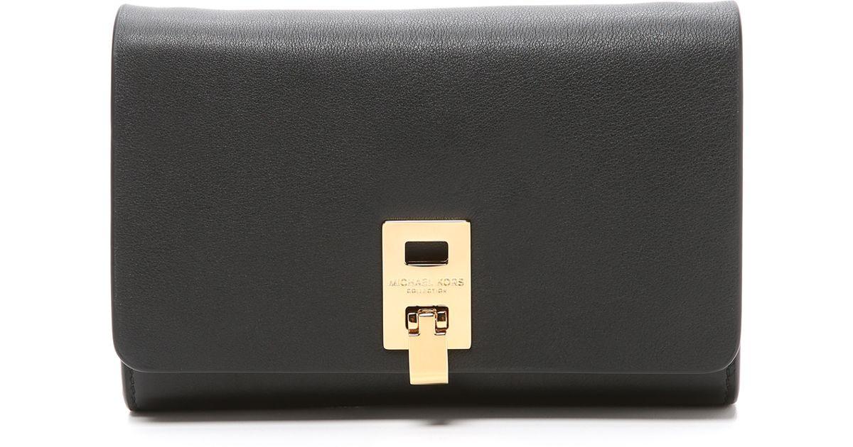 7572fca71517 Michael Kors Miranda Wallet With Strap - Black in Black - Lyst