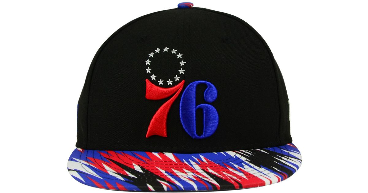 sale retailer 7ad6a e14b6 ... get lyst ktz philadelphia 76ers zag 9fifty snapback cap in black for  men 2a3b1 d3bbb