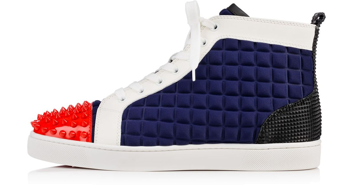 0edcbe597940 Lyst - Christian Louboutin Lou Spikes Neoprene High-Top Sneakers in Blue  for Men