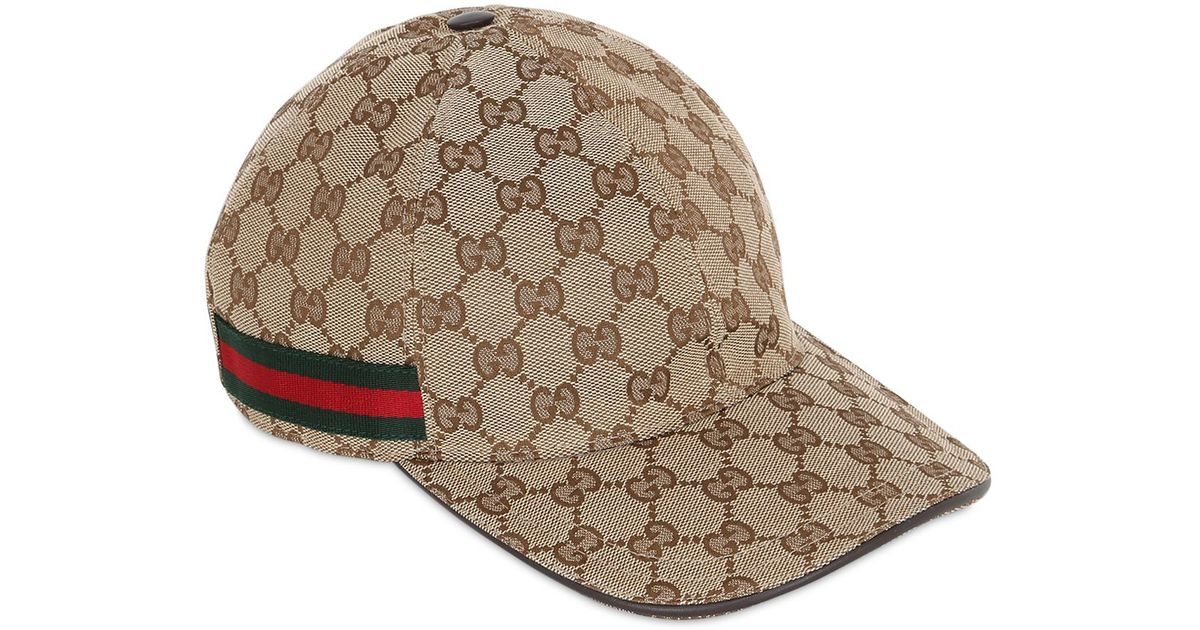 Lyst - Gucci Web   Gg Jacquard Baseball Hat in Natural for Men 905a718c96c