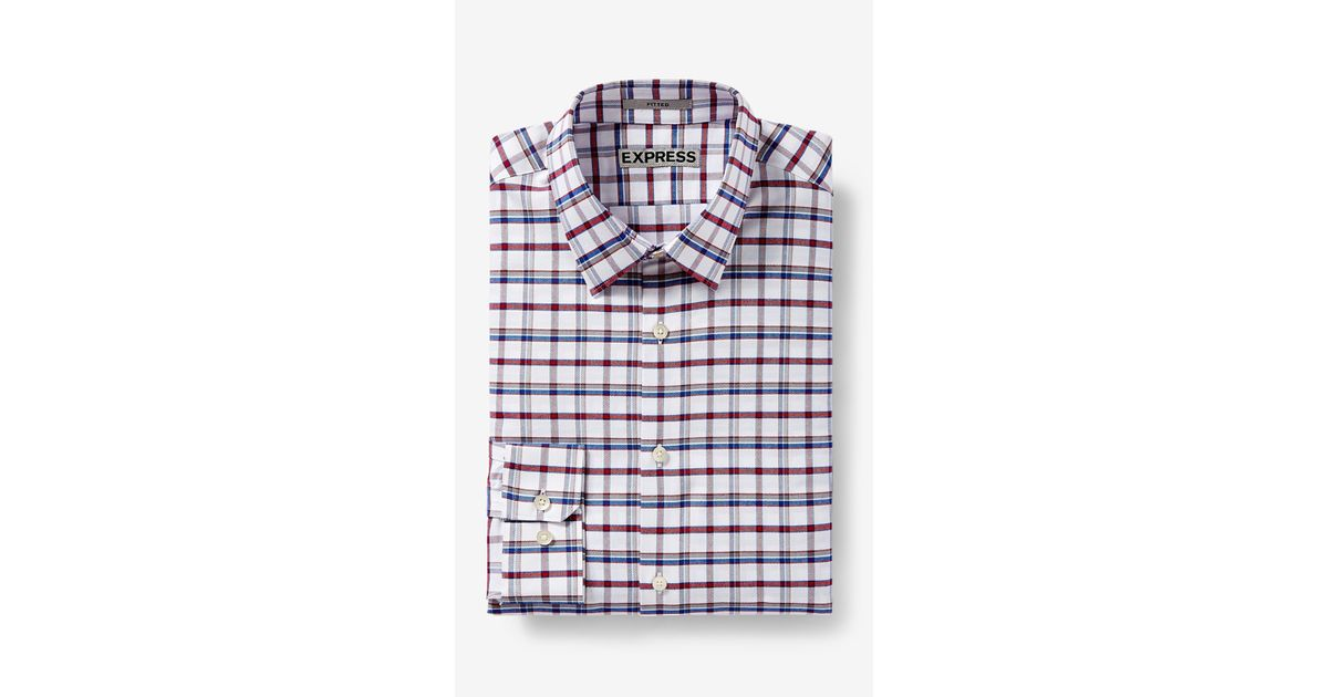 Express fitted check dress shirt for men lyst for Express wash roma