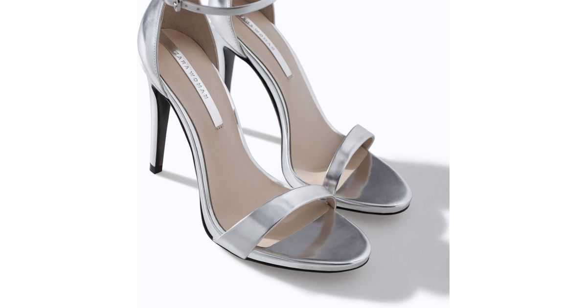 Silver Strappy Sandals Heels