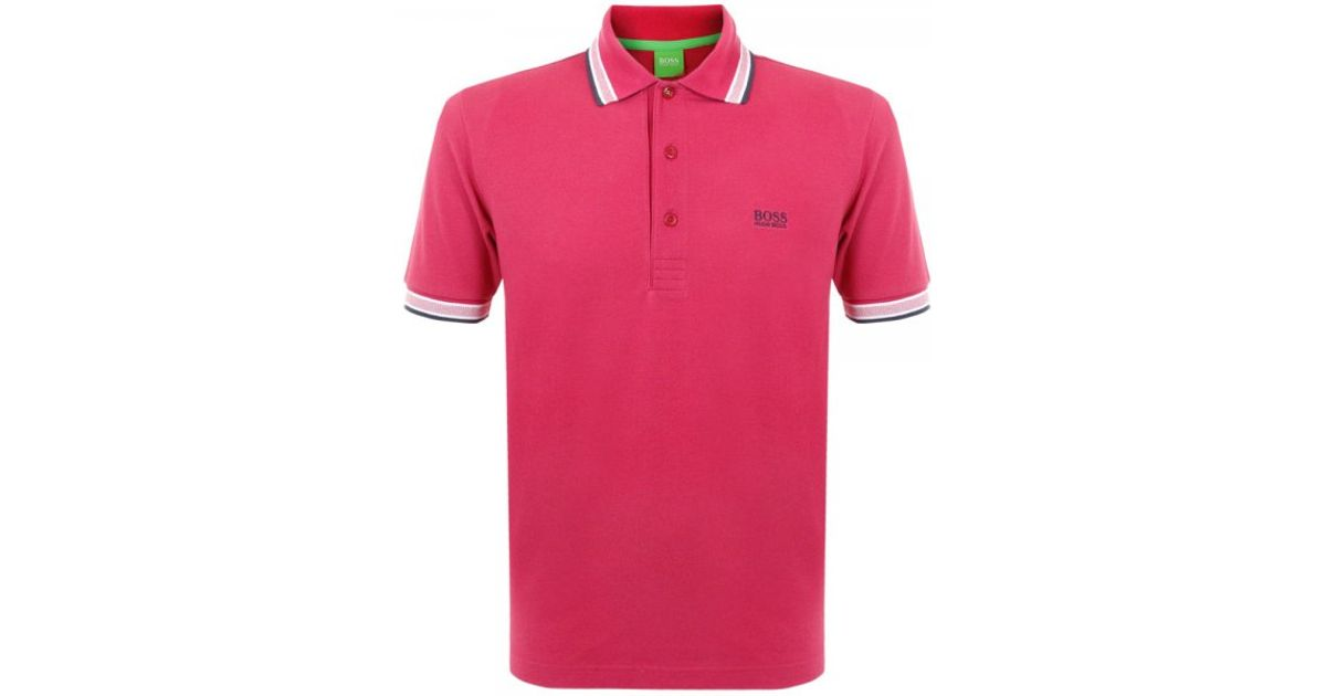 fcdd42569 Lyst - BOSS Green Paddy Pink Pique Polo Top 50198254 in Green for Men