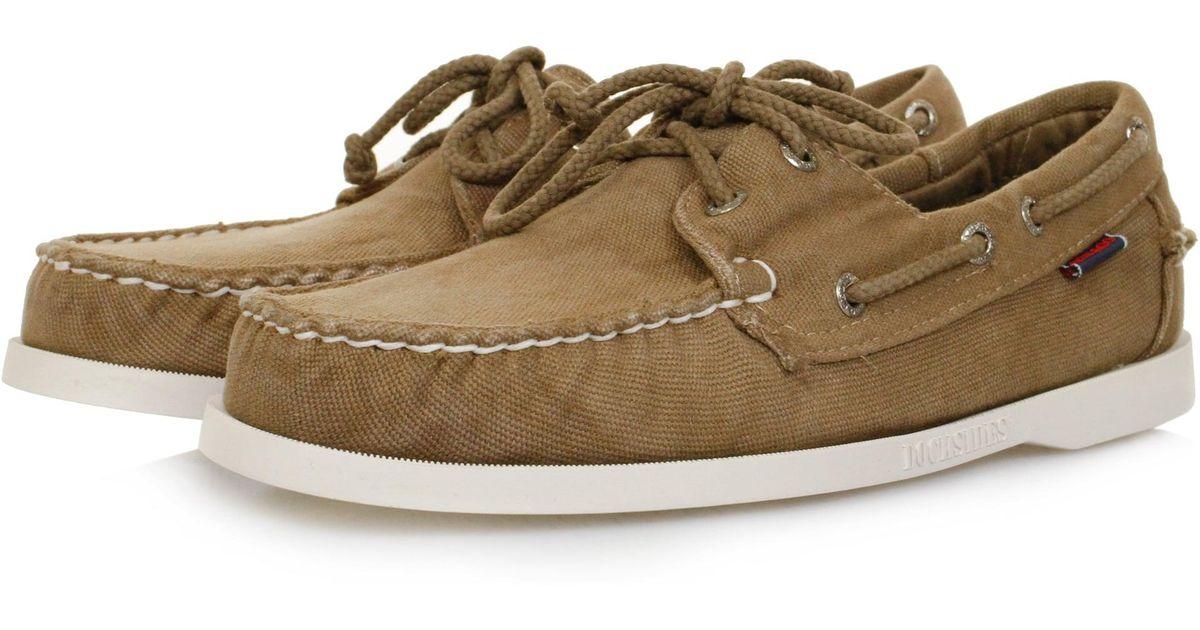 Sebago Docksides Dark Taupe Canvas Shoe