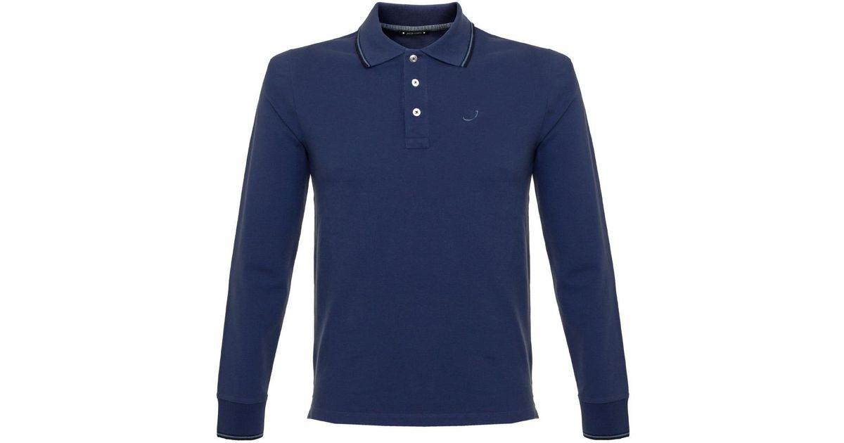 Lyst jacob cohen j494 cobalt blue polo shirt for men for Cobalt blue polo shirt